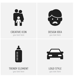 set of 4 editable family icons includes symbols vector image