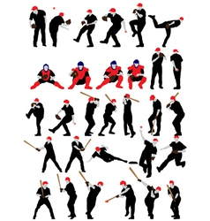 Set of detail baseball athlete silhouettes vector image