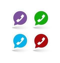 Set of green red blue and lilac phone handset in vector