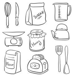 set of kitchen equipment doodles vector image