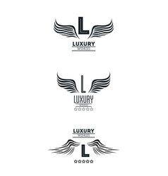 set of luxury wings emblems vector image