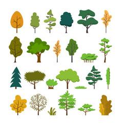 set trees flat design style vector image