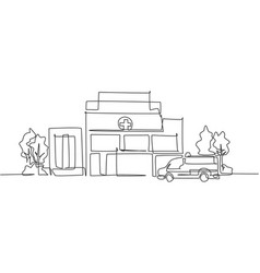 Single one line drawing clean hospital vector