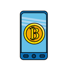 Smartphone with bitcoin currency symbol inside vector