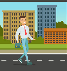 Smiling man walking down the street with blue vector