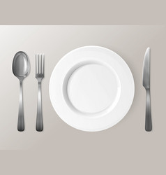 spoon fork or knife and plate tableware 3d vector image