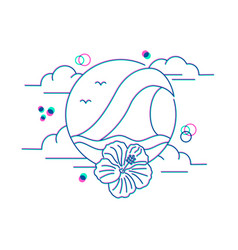 Summer vacation icon with ocean in line art style vector
