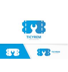 Ticket and repair logo combination ducket vector