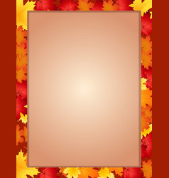 vertical border frame with fallen autumn maple vector image