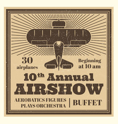 Vintage airshow poster label with airplane vector