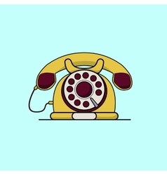 Vintage yellow telephone Line art flat vector image