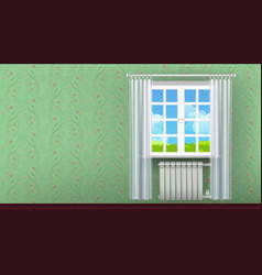Wall with window vector