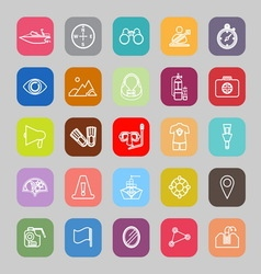 Waterway related line flat icons vector image