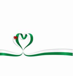 welsh flag heart-shaped ribbon vector image