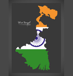 West bengal map with indian national flag vector