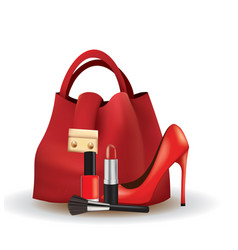 woman set bag shoes and cosmetics vector image