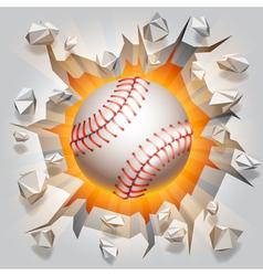 Baseball ball and cracked wall vector image