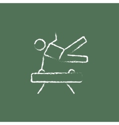 Gymnast on pommel horse icon drawn in chalk vector image