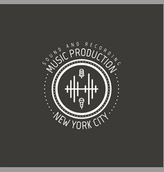 music production new york city label vector image vector image
