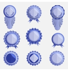 set of empty blue badges with ribbons vector image