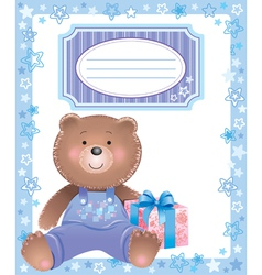 Baby blue frame with little bear vector image vector image
