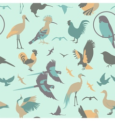 Birds seamless pattern flat style vector image
