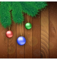 Christmas wooden background with red ball vector image