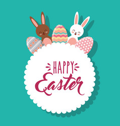 cute rabbits and eggs decoration white label happy vector image