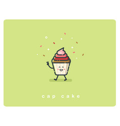 flat cup cake character bakery food icon vector image