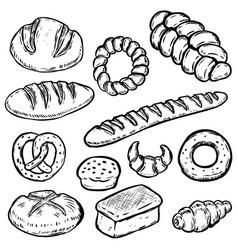 set of hand drawn bread white bread bun bagel vector image