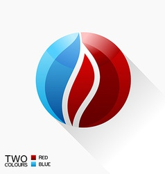 symbol fire Blue and red round glass icon with vector image vector image