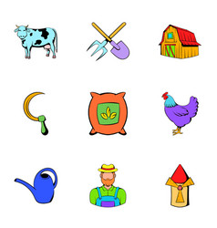 farm icons set cartoon style vector image vector image