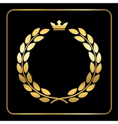 Gold laurel wreath black vector image