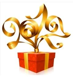golden ribbon and gift box Symbol of New Year 2017 vector image vector image
