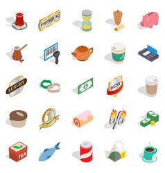 noshery icons set isometric style vector image