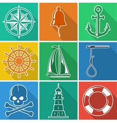 Set of flan nautical icons vector image vector image