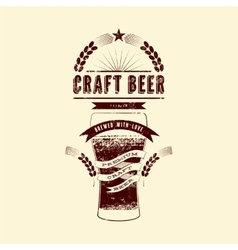 Craft beer label Vintage grunge beer poster vector image