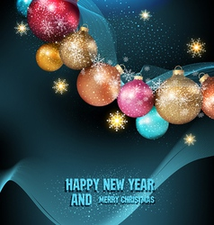 dark blue background with a magic Christmas balls vector image vector image