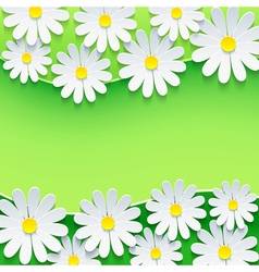 Floral green background frame with 3d chamomile vector image vector image