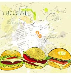 hamburgers on stylized background vector image