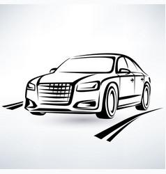 modern luxury car symbol outlined sketch vector image