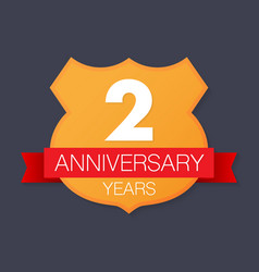 2 years anniversary emblem anniversary icon or vector image