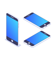 3d isometric mobile phone left top view vector image