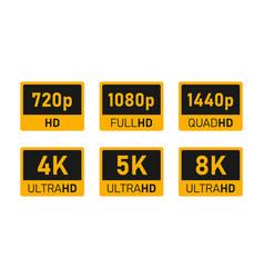 4k uhd 5k 8k quad hd full hd and hd video or vector image