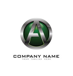 a 3d circle chrome letter logo icon design vector image