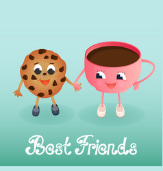 A funny cookie with a coffee cup friendship day vector