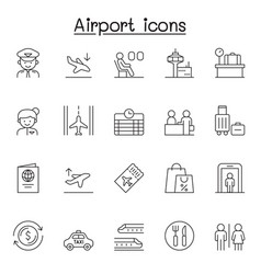 airport icon set in thin line style vector image