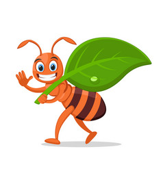 Ant carries a green leaf smiling and waving vector