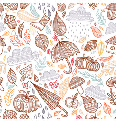 autumn seamless pattern with colorful linear vector image