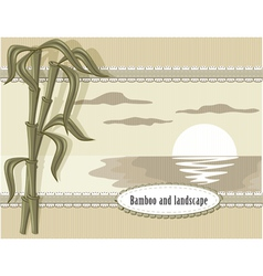 bamboo and landscape vector image